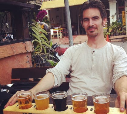 Steven Lang samples craft beers in Chiang mai