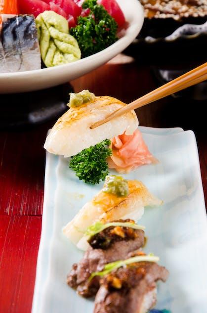 Engawa sushi and sirloin sushi at Tenkogu Chiang Mai