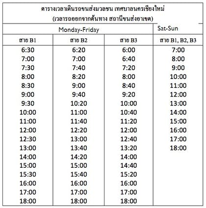 Chiang Mai Municipality Bus - Timetable