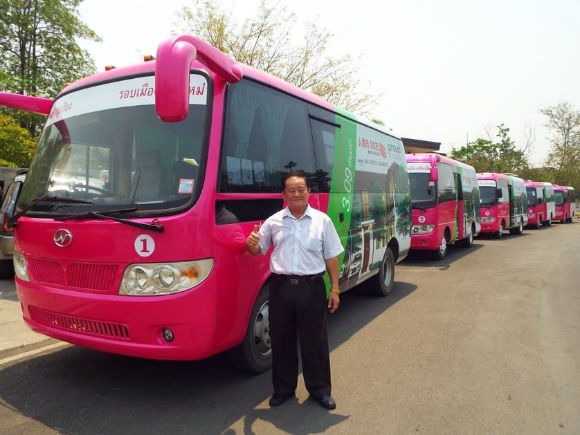 Chiang Mai Municipality Bus - the pink bus