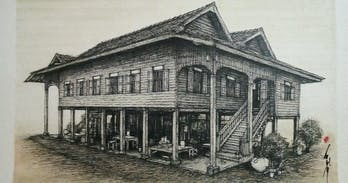 Sketch of an old teak wood house in Sanpatond Northern Thailand